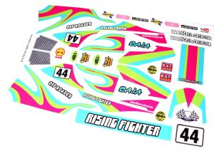 Lime Retro Race Car themed vinyl stickers to fit R/C Tamiya Rising Fighter